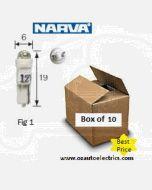 Narva 47852 L.E.D Wedge Globes 12v T-5mm KW2 x 4.6d - White (Box of 10)