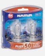 Narva 48872BL2 Halogen H4 Globe 12V 60/55W Plus 50 Longer Life P43t (Blister Pack of 2)