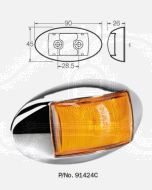 Narva 91424C 10-33 Volt L.E.D Side Marker, External Cabin or Front End Outline Marker Lamp (Amber) with Oval Chrome Deflector Base and 0.5m Cable