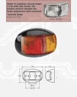 Narva 91606 9-33 Volt L.E.D Side Marker Lamp (Red / Amber) with Oval Black Deflector Base and 2.5m Cable
