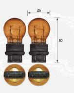 Narva 47558BL Wedge Globe 12V 27/7W Amber W2.5 x 16q Blister (2)