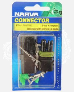 Narva 56472BL 2 way Waterproof Connector with Terminals and Seals (Blister Pack)