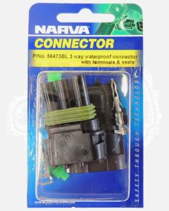Narva 56473BL 3 way Waterproof Connector with Terminals and Seals (Blister Pack)