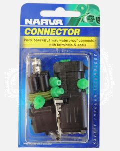Narva 56474BL 4 way Waterproof Connector with Terminals and Seals (Blister Pack)
