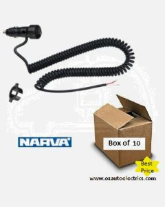 Narva 81012BL-10 Cigarette Lighter Plug with Off/On Rocker Switch and L.E.D Indicator and Spiral Lead (Box of 10)