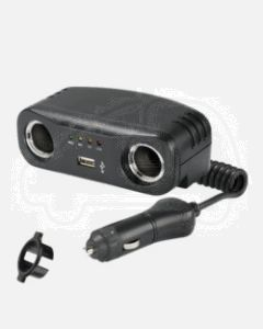 Narva 81052BL Cigarette Lighter Plug with Extended Lead, Accessory Sockets and USB Socket