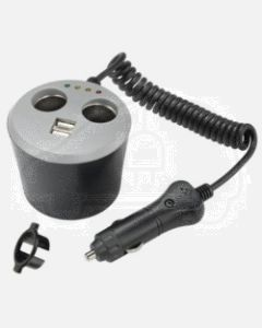 Cigarette Lighter Plug with Extended Lead, Accessory Sockets and USB Sockets with Cup Holder Design