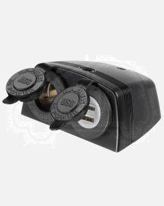 Narva 81168BL Heavy Duty Twin Surface Mount Accessory/Dual USB Sockets