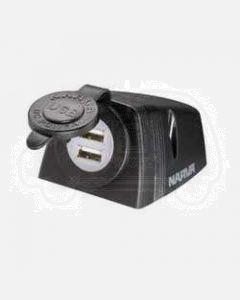 Narva 81154BL Heavy-Duty Surface Mount Dual USB Socket